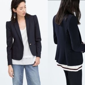 ZARA Navy Double Breasted Collegiate Fitted Blazer